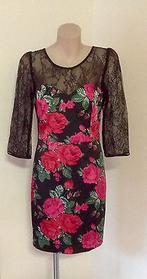 NWT Stunning REVIEW Rose Lace Pencil Dress SIZE 8-10 GORGEOUS!