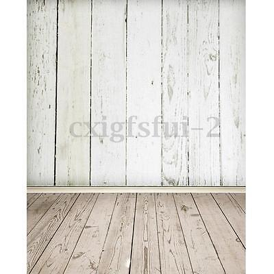 3X5FT White Wooden Wall Floor Photography Background Backdrop Photo Studio Prop