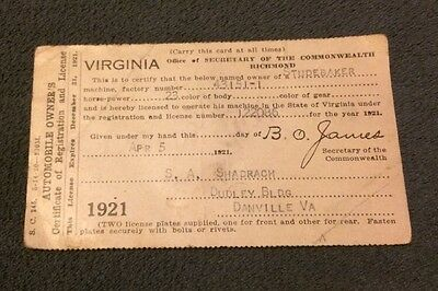 Vintage 1921 Virginia Automobile Owner's Certificate of Registration and License