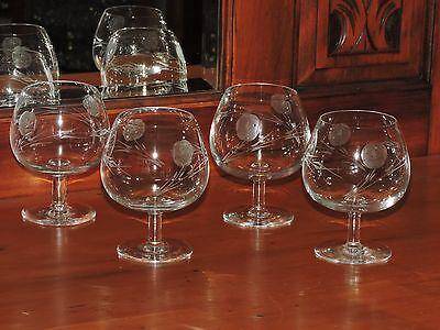Vintage / Retro  4 Brandy Balloons Glasses in Etched ROSES