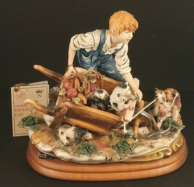 CAPODIMONTE Porcelain SIGNED Walter Scapinello  MADE ITALY Farm Boy DOGS Harvest