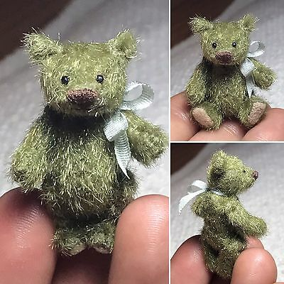 1-1/2 in. Miniature Hand Sewn OLIVE GREEN Teddy Bear by Artist Lori Wright