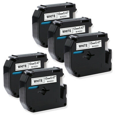 5PK M-K231 Black on White Compatible for Brother P-touch Label 1/2'' Tapes MK231