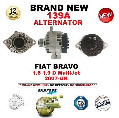 FOR FIAT BRAVO 1.6 1.9 D MultiJet 2007-ON NEW 139A ALTERNATOR with CLUTCH PULLEY