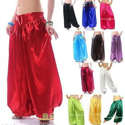 AU NEW Hot Belly Dance Satin Harem Pants Tribal Style Bollywood Dancing Costume