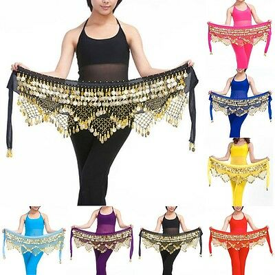 NEW Top Professional 320 # Gold Coins Belly Dance Dancing Hip Scarf Costume Belt