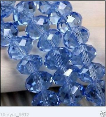 4X6MM blue crystal stone beads A8
