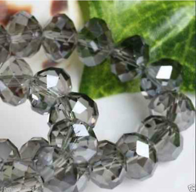 95Pcs gray Crystal Gemstone Loose Beads4x6mm