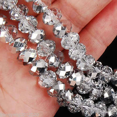 95pcs Silver White Crystal Loose Beads 4X6mm A