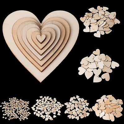 Wooden Love Hearts Craft Shape Wedding Christmas Tree Decoration 10-80mm