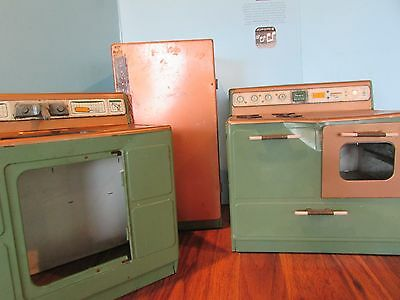 Vintage Sears tin toy kitchen set Kenmore Refrigator/stove and sink