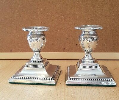 Pair of solid silver candlestick holders, hallmarked, 312g, collectable (b21)