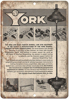 "York Barbell Gym Equipment Wall Art Rogue Fitness 10"" x 7"" Retro Look Metal Sign"