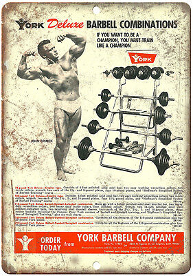 "York Barbell Equipment Garage Gym Wall Art Rogue 10"" x 7"" Retro Look Metal Sign"