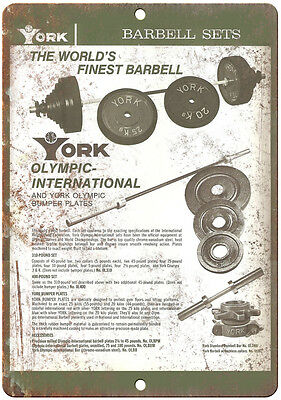 "York Barbell Garage Gym Wall Art Rogue Fitness 10"" x 7"" Retro Look Metal Sign"