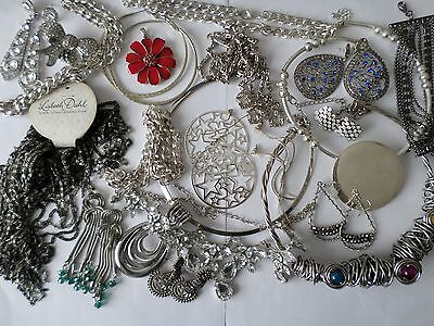 Job lot nice silver tone costume jewellery earrings bangles necklaces rings Z