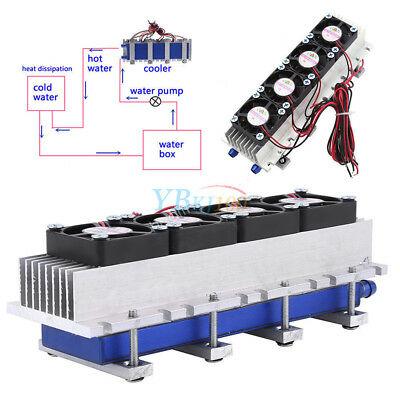 1pc Quad-core Thermoelectric Peltier Air Radiator 4*TEC1-12706 12V Cooling HL