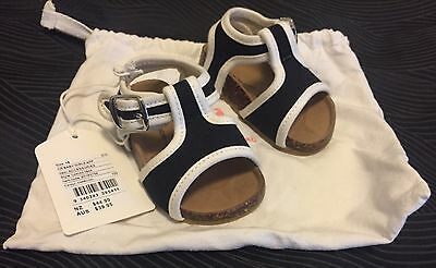 Country Road Baby Girl Black & White Canvas T-bar Sandal Size 18