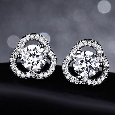 18K White Gold White Crystal Cluster Stud Earrings    334