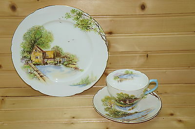 "Shelley Old Mill #13669- 3-Pieces- Cup, 2 5/8"" & Saucer, 5¾"" & Salad Plate, 8¼"""