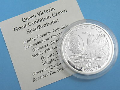 GIBRALTAR - 2001 SILVER PROOF CROWN COIN - THE GREAT EXHIBITION + Certificate