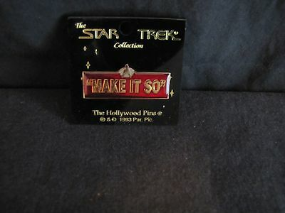 """RARE - 1993 - STAR TREK:TNG CAPTAIN PICARD QUOTE """"MAKE IT SO"""" PIN - Mint on card"""