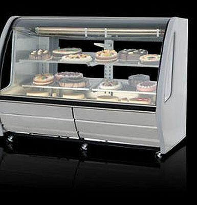 """New White 74"""" Curved Glass Deli Bakery Display Case Refrigerated With Casters"""