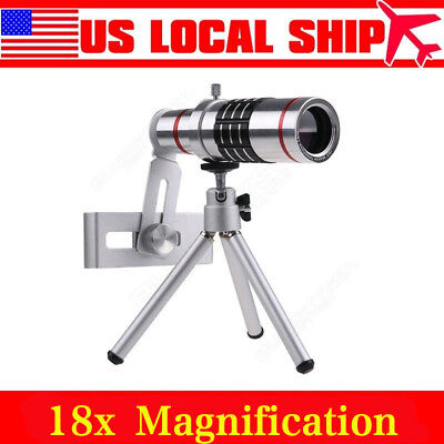 18x Optical Zoom Telescope Camera Lens Kit Tripod For Cell Phone Smartphone AP