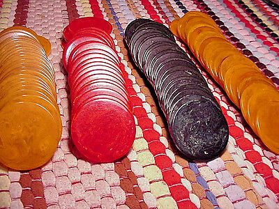 100 Vintage BAKELITE/CATALIN MARBLED POKER/CHIPS RED, BUTTERSCOTCH, BLUE/TEAL