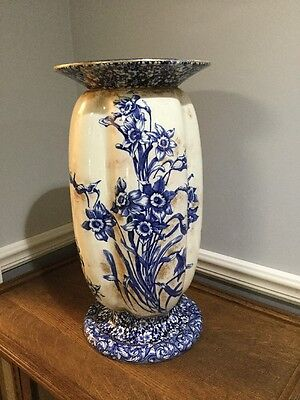 Royal Doulton Flow Blue Daffodil Pedestal/Stand Sponged Gold/Chintz