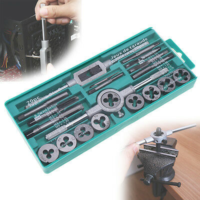 20PCS 1/16-1/2 Inch M3-M10 Screw Thread Tap and Die Set Alloy Steel Screw Taps
