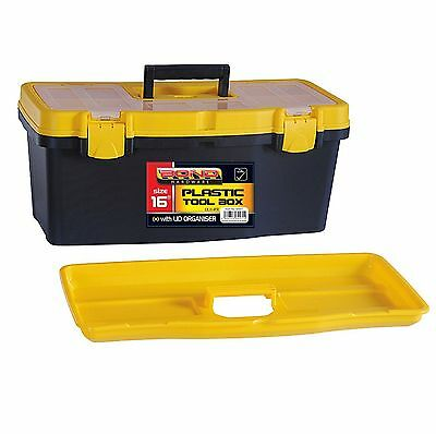 """16"""" Tool Box DIY Storage Carry With Handle Tray Lockable Sturdy Plastic Toolbox"""