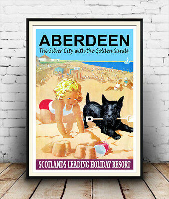 Aberdeen : Vintage Seaside Travel Poster, reworked, reproduction , Wall art
