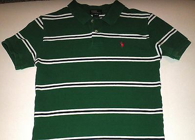 Ralph Lauren short sleeve Green,White,Blue Striped  Polo Shirt Boys Size L 16/18