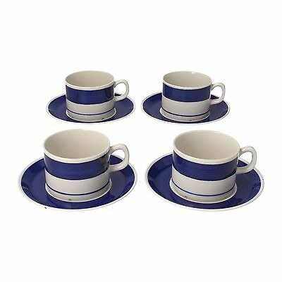 4 x Gefle Hyacint coffee cups & saucers Swedish midcentury blue & white