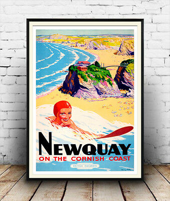 Newquay : Vintage Railway Travel advert, Wall art , poster, Reproduction.