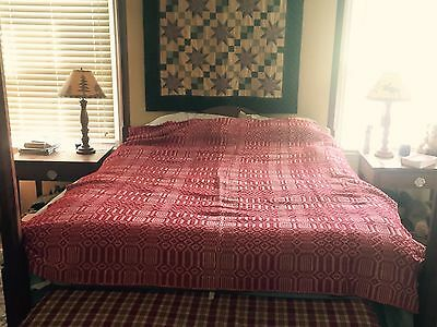 """Large Antique Linsey Woolsey Coverlet Overshot Red & White Wool/Cotton 86x68"""""""