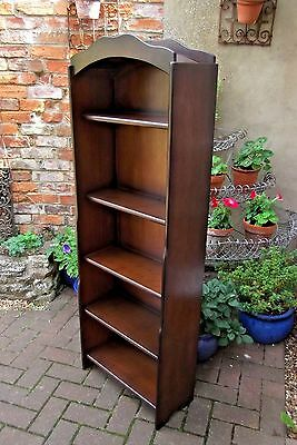 Slim Narrow Mid-Century Dome Top Oak Bookcase~Waterfall Sides~Five Shelves