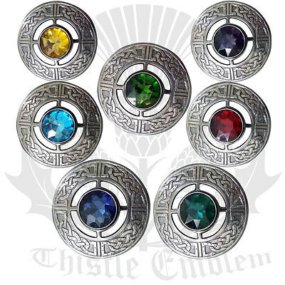 """Celtic Fly Plaid Brooch Various Stone Brushed Silver Antique Finish 3""""/Metal"""