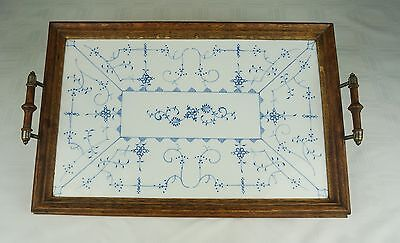 EUC Antique pre-1900 German Ceramic Tile Serving Tray with Wood Frame Beautiful!