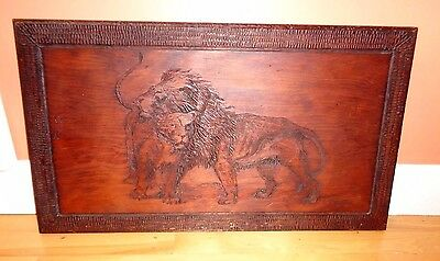 Antique Hand Carved Wood Lion Lioness Portrait  OOAK Signed 1899
