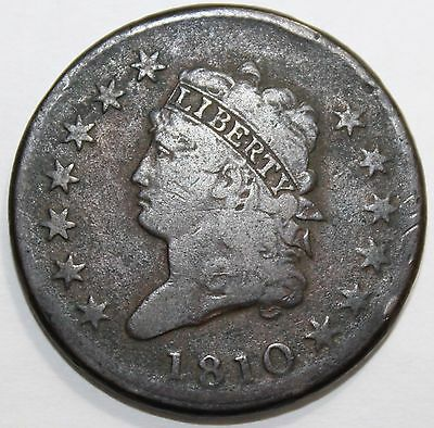 1810 Classic Head Star Border Large Cent 1c Penny US Coin Free Shipping US 48