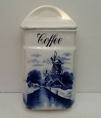 Antique German Delft Blue and White Coffee Canister by Inge