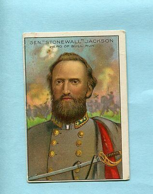 1911 Miners Extra Tobacco Card Men Of History  Stonewall Jackson  3 1/4 X 2 1/4