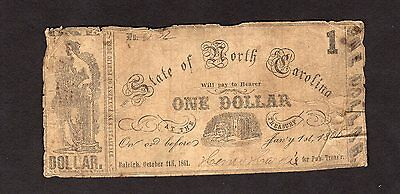 RARE 1861 State of North Carolina $1 Confederate Currency Printed on $10 Notes
