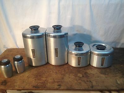 Vintage Aluminum 4pc Canister Set With Salt and Pepper Mid Century Modern attomi