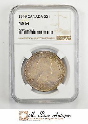 MS64 1959 Canada $1 Silver - Excellent Toning - NGC *501