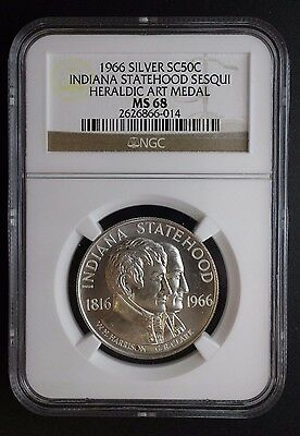 1966 Silver SC50C Indiana Statehood Sesqui Heraldic Art Medal NGC MS 68