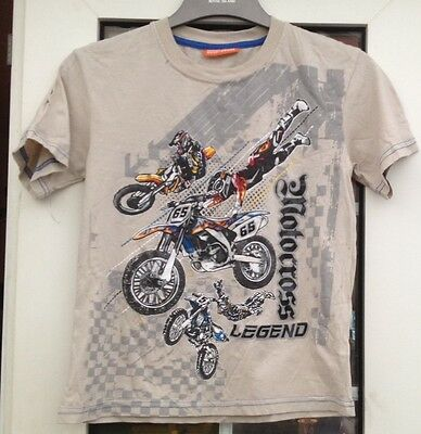 Duck & Dodge Beige Boys Motorcycle Themed Short Sleeve T-Shirt - Aged 9 Yrs