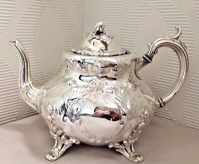 Victorian Silver Plate Ornate Teapot 'Nut & Leaf' Finial - Shaw & Fisher c. 1850